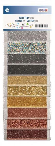 Glitter fein silber braun gold-Mix