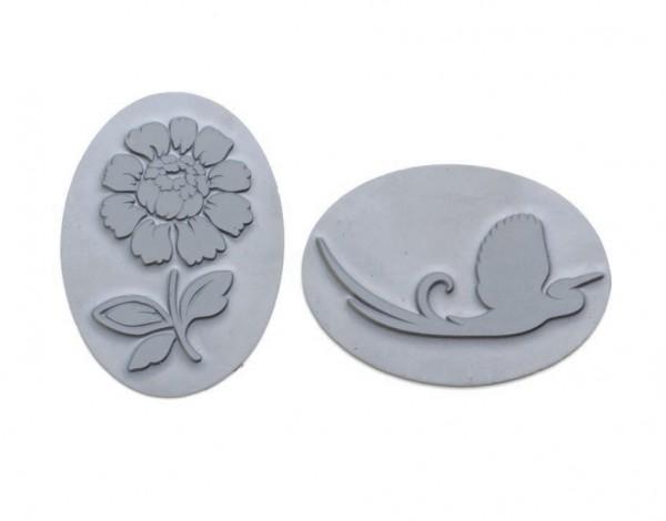 Reliefeinlagen Vogel+Blume für ovale Seifengießformen