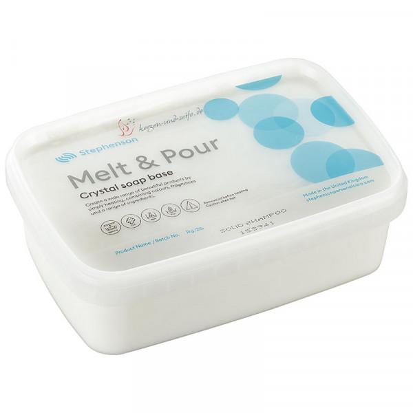 Glycerinseife Crystal Solid Shampoo 1kg im Schmelzbehälter