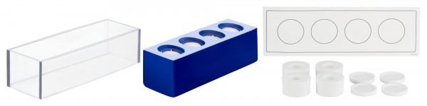 4er Block Kerzengießform für Teelichteinsatz