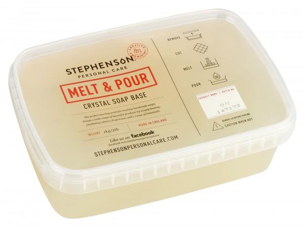 Glycerinseife Crystal Olivenöl Rohseife 1kg im Schmelzbehälter