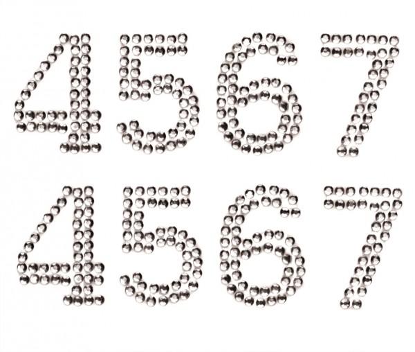 Zahlen 4-7 in crystal