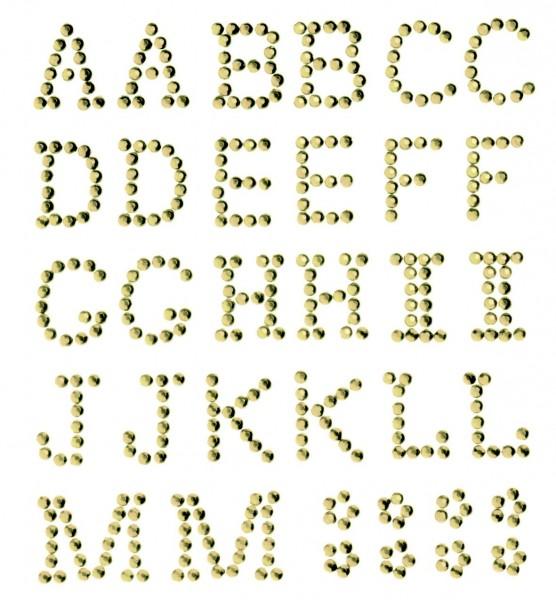 Buchstaben A-M in gold