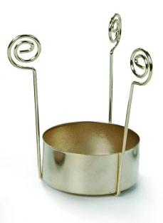 Teelichteinsatz 3 armig gold glänzend