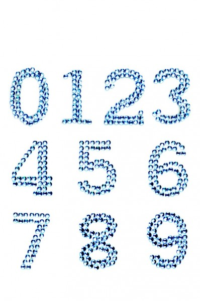 Zahlen 0-9 in silber