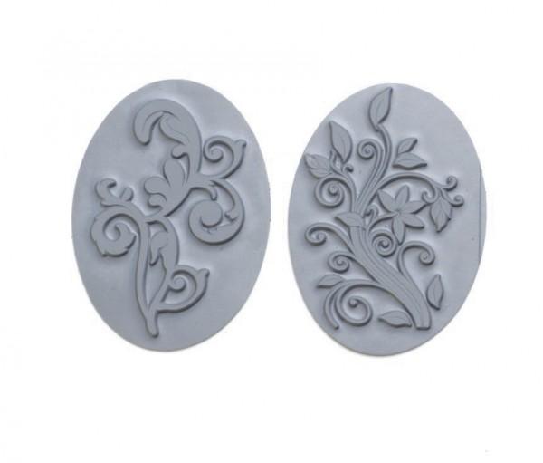Reliefeinlagen Flora für ovale Seifengießformen