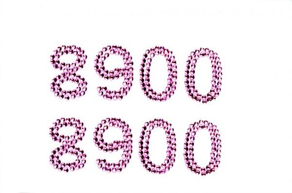 Zahlen 8-00 in rosa