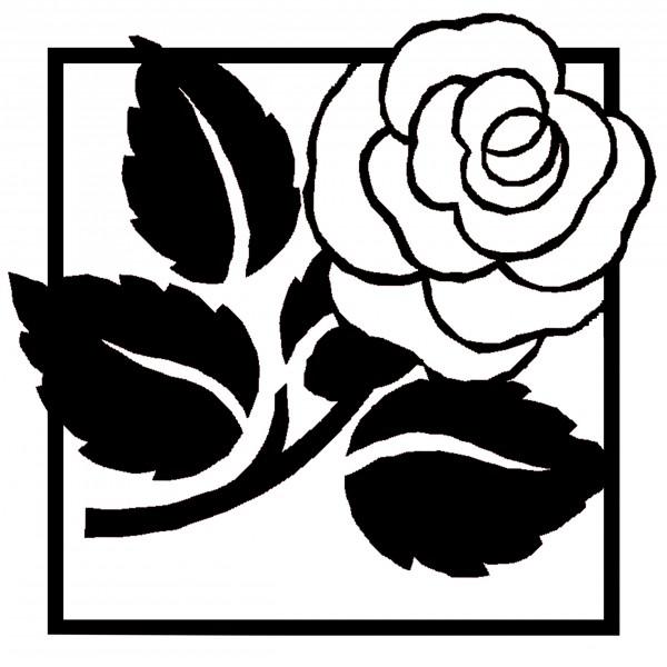 Rose in Bild und Schrift Reliefeinlagen