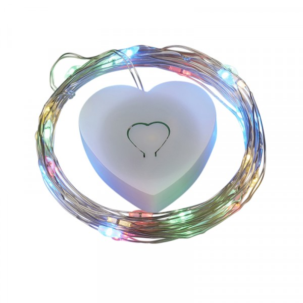 Ballon LED-Leuchtdraht mit Herzbox buntes Licht 2m