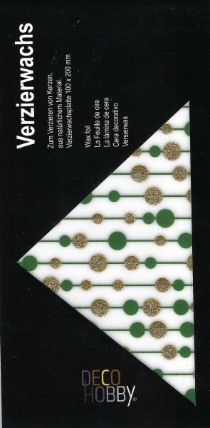 Verzierwachs Kugelgirlande Grün/Gold Glitzer