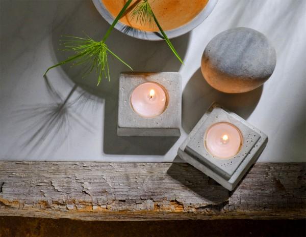 Teelichthalter quadratisch Betongießform