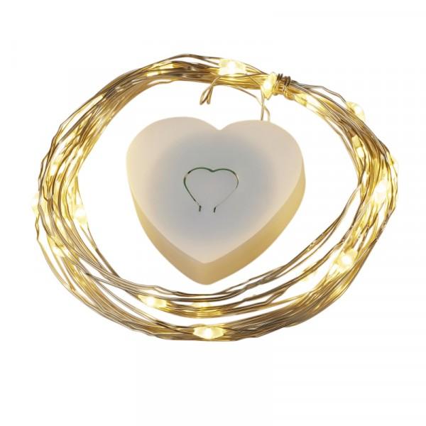 Ballon LED-Leuchtdraht mit Herzbox warmes Licht 2m