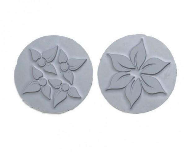 Reliefeinlagen Blumen für runde Seifengießformen