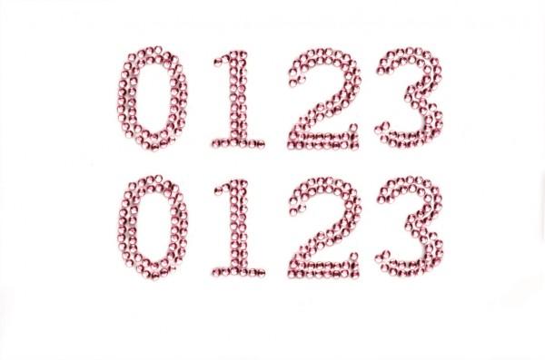 Zahlen 0-3 in rosa