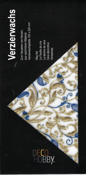 Verzierwachs Floral Blau/Gold Glitzer
