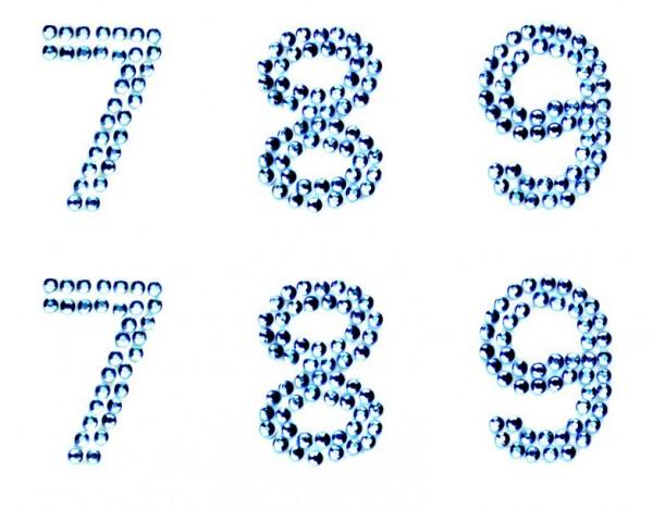 Zahlen 8-00 in hellblau