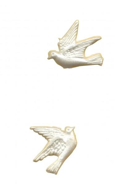 weiße Tauben nach links nach rechts