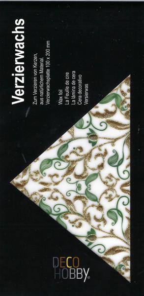 Verzierwachs Floral Grün/Gold Glitzer