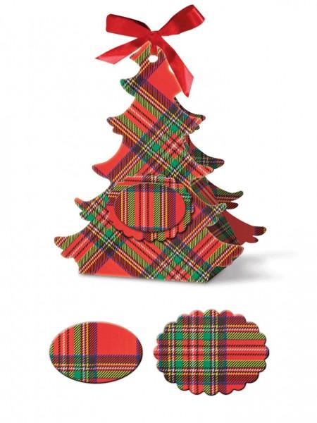 Geschenkschachtel Tannenbaum mit Muster