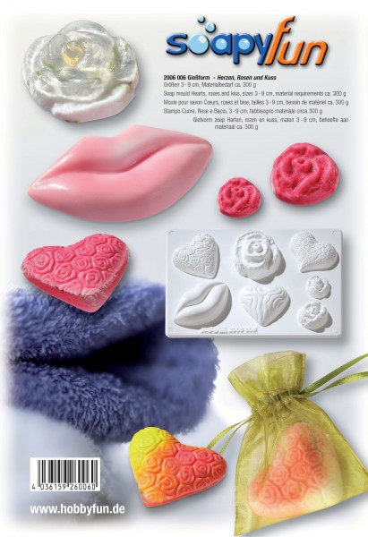 Herzen, Rosen und Kuss Seifengießform