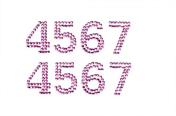 Zahlen 4-7 in rosa