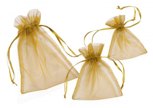 Organza-Säckchen gold L