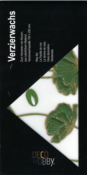 Verzierwachs Mohn grün/pearl Glitzer