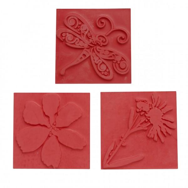 Reliefeinlagen Blüte für quadratische Seifengießformen