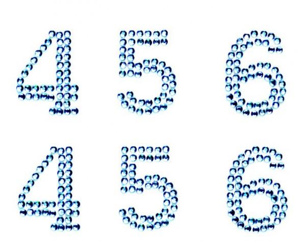 Zahlen 4-7 in hellblau