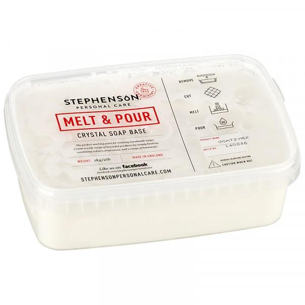 Glycerinseife Crystal Goats Milk (mit Ziegenmilch) im Schmelzbehälter