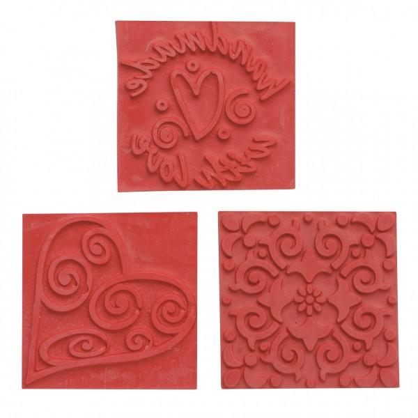 Reliefeinlagen Ornamente für quadratische Seifengießformen