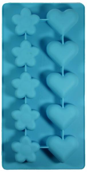 Blumen und Herzen Seifengießform