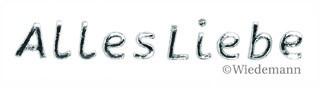 Alles Liebe in Silber Wachsbuchstaben